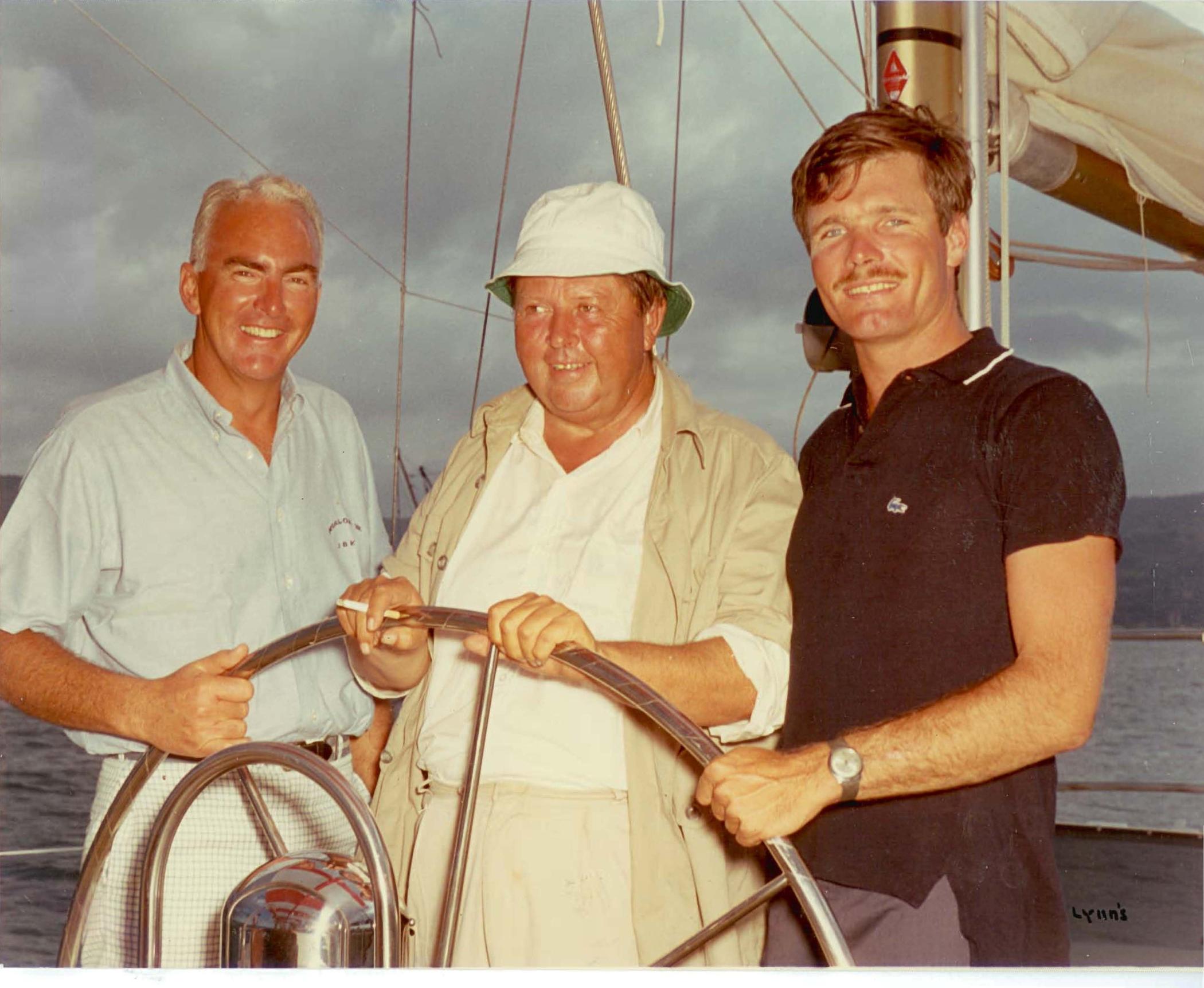 1967 - JBKSr (Jim Kilroy), Bob Johnson of Windward Passage, and Ted Turner of Tenacious at the Transpac Race