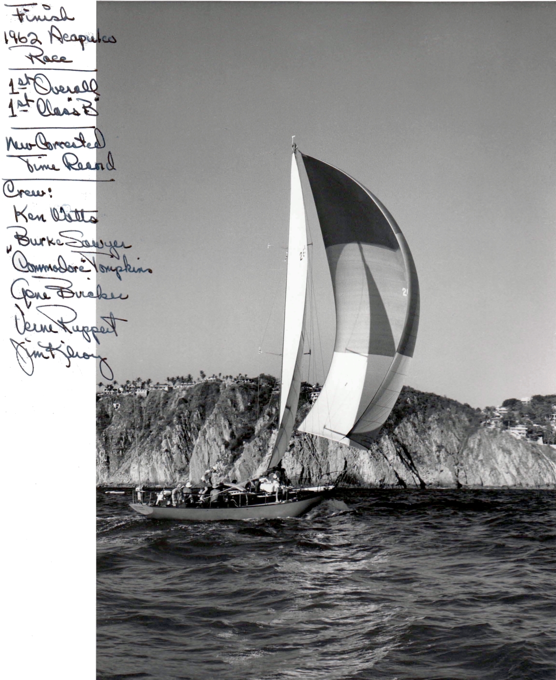 Kialoa 1 at the finish of the 1962 Acapulco Race