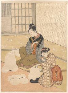Suzuki Harunobu, Evening Snow on the Heater