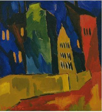 Karl Schmidt, Rottluff Houses at Night, 1912
