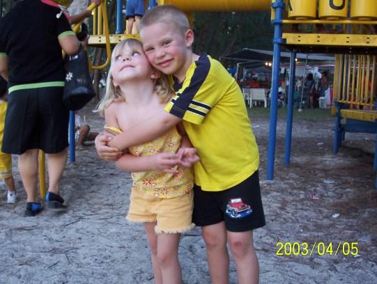 Kiana and Jaydon at the playground