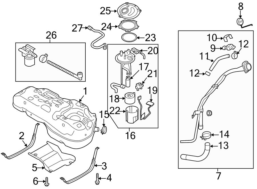Kia Sportage Fuel Pump Mounting Bracket. SYSTEM, ASSEMBLY