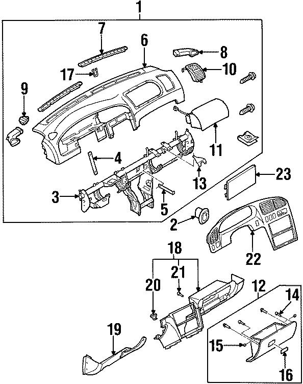 Kia Sephia Instrument Panel Air Duct (Right, Rear, Lower