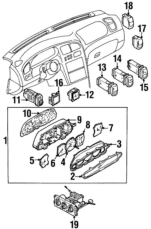 Kia Sephia Instrument Panel Dimmer Switch. HATCHBACK