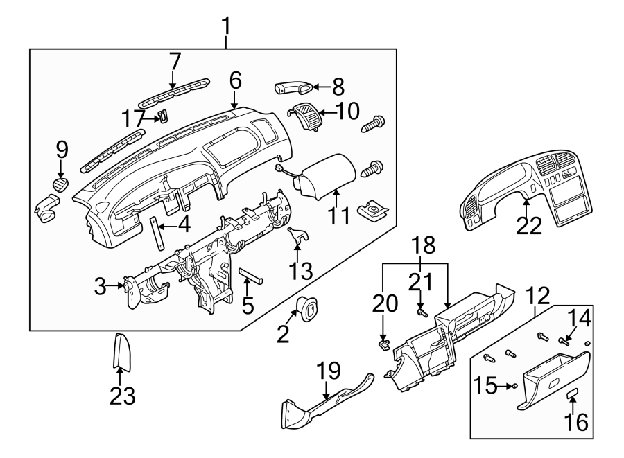 Kia Sephia. Part included with instrument panel. Duct