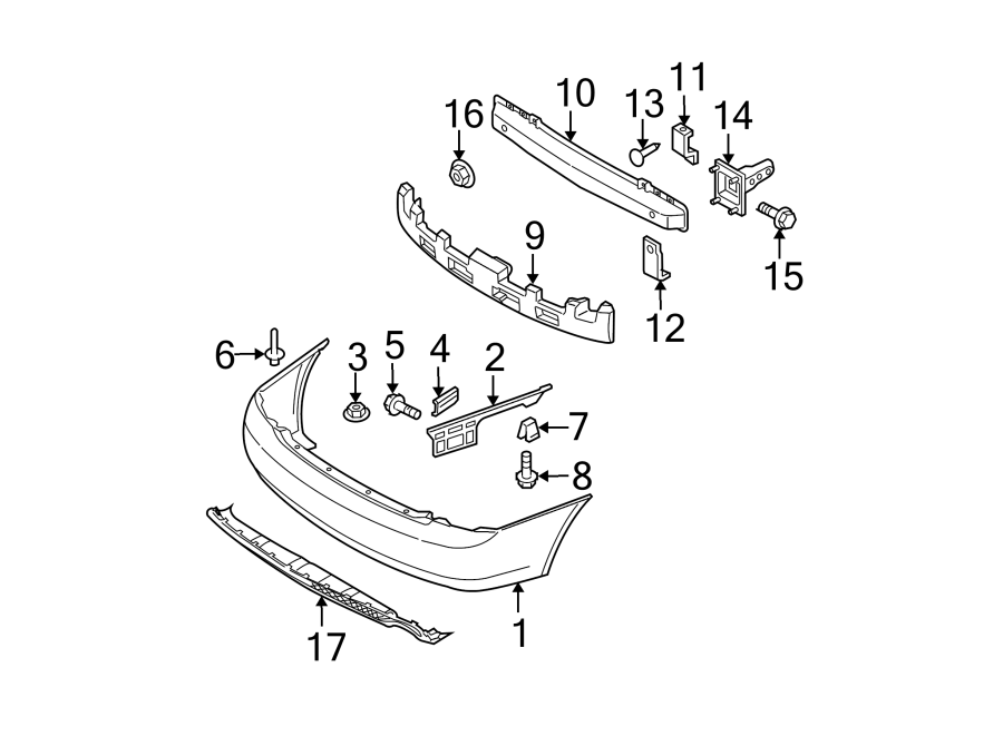 Kia Spectra Bumper Impact Bar (Rear). SEDAN, LX, EX. Beam