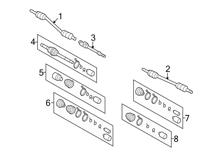 Kia Sedona Cv intermediate shaft. Right, axles, left