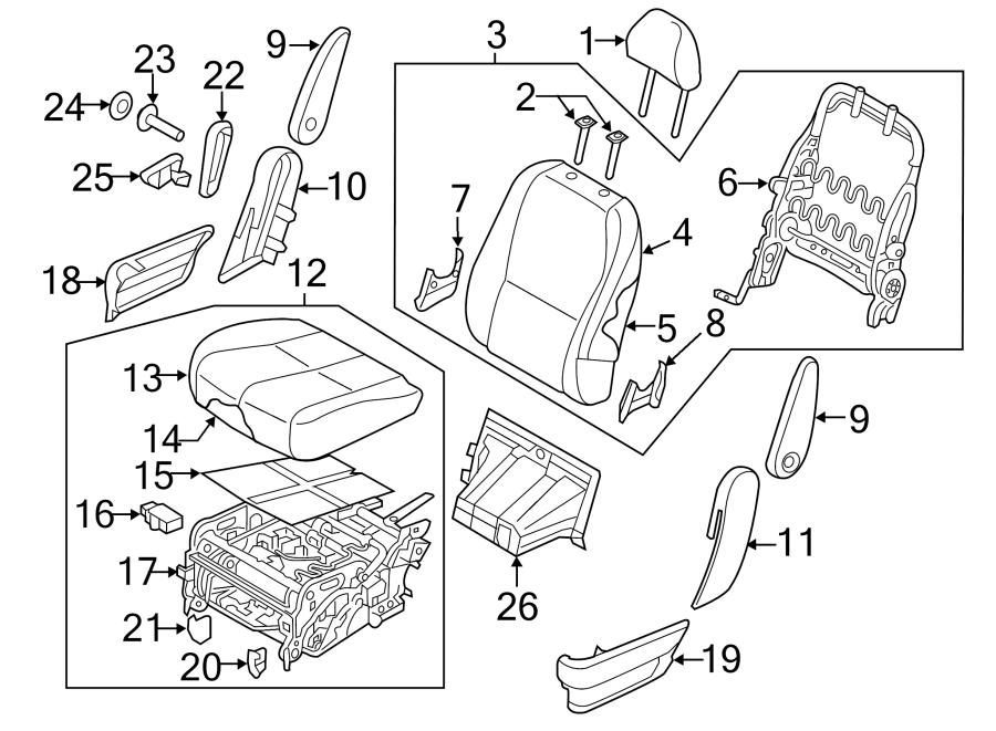Kia Sedona Adjust lever. (Right). 7 PASSENGER, W/O LEG
