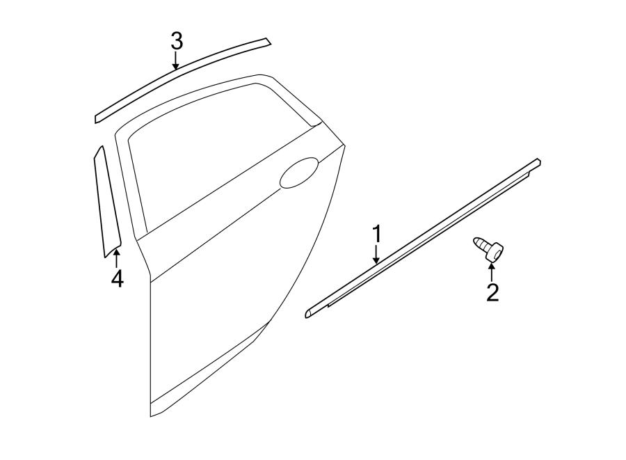 2015 Kia Optima Door Reveal Molding. Left, Rear