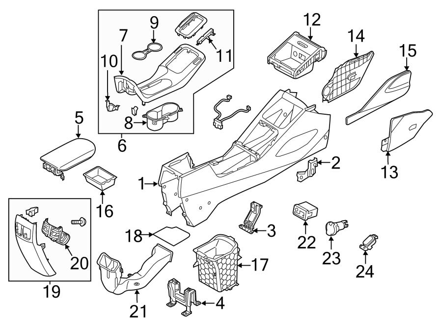 2014 Kia Forte Koup Console Armrest. Gray. W/sliding, gray