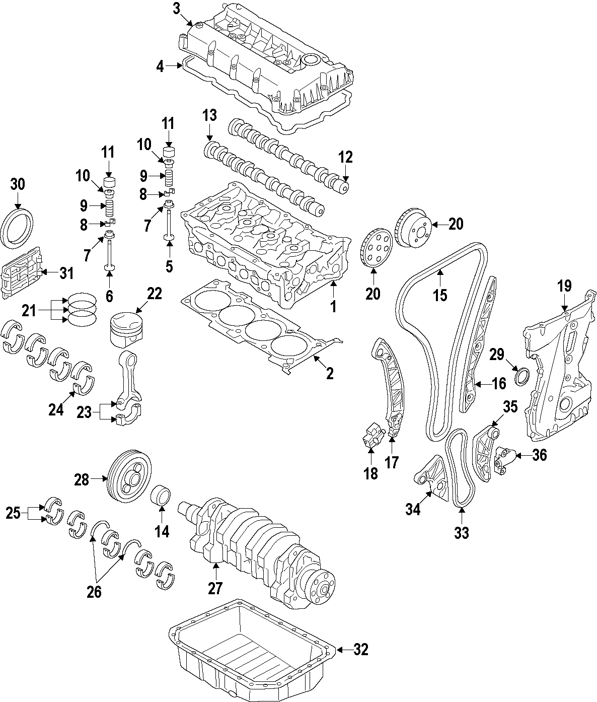 2014 Kia Optima Engine Timing Chain. LITER, Cam, Crank