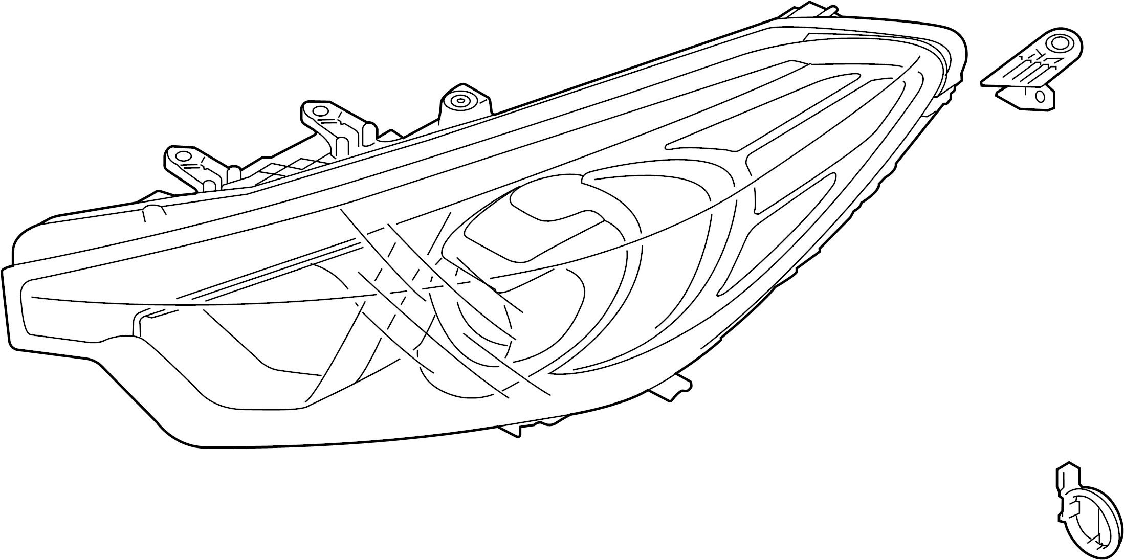 Kia Forte Headlight Assembly (Right). LED, HID, Mexico
