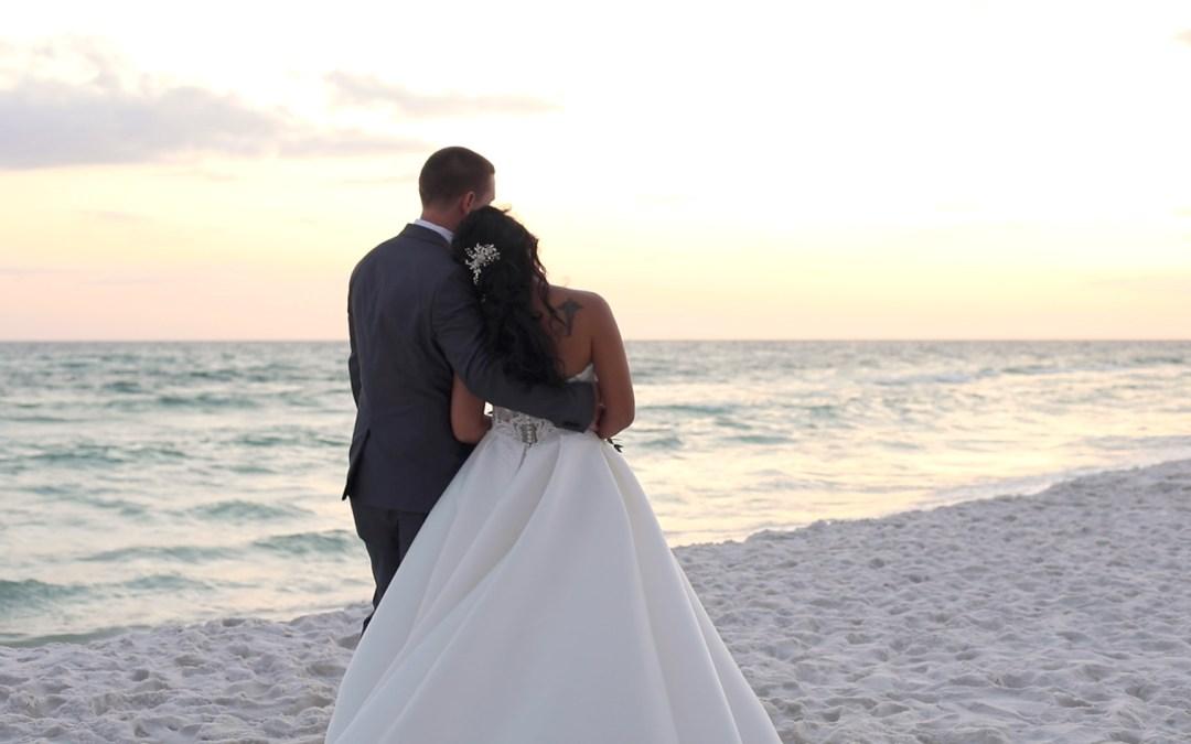 beach wedding portrait at sunset in Fort Walton Beach, Florida
