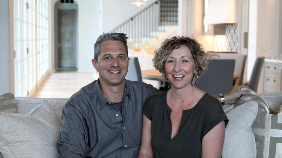 photo of interior designer couple during promotional video shoot