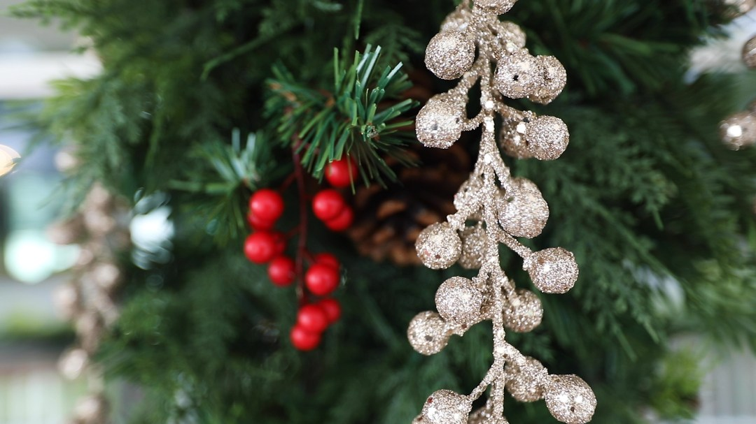 Christmas decorations for a Christmas video card