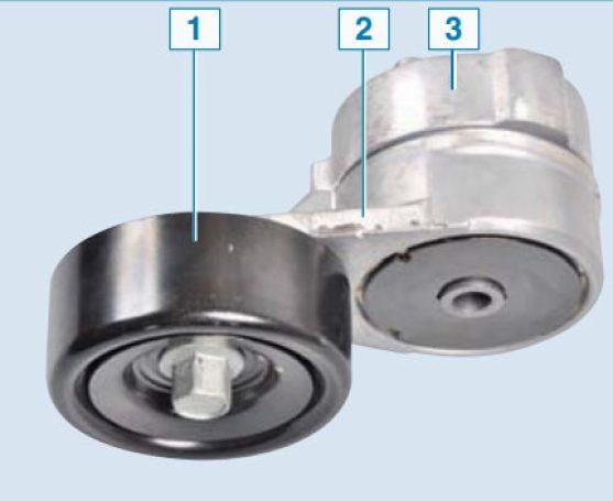 Автоматическое натяжное устройство в сборе: 1– натяжной ролик; 2– кронштейн ролика; 3– корпус