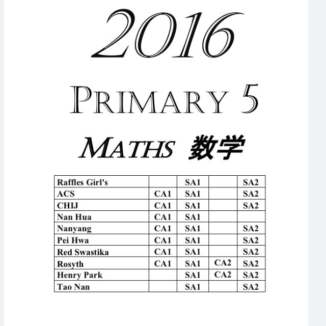 2016 Primary 5 Exam Papers (All Subjects) + Free 2010-2015