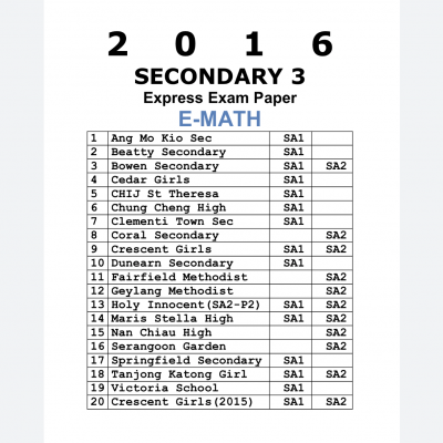 2016 Secondary 4 Express Pure Biology Past Year Prelim