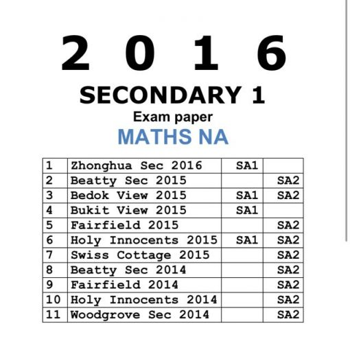 2016 Secondary 1 Normal Academic (NA) Maths Past Year Exam