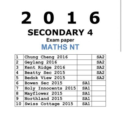 2016 Secondary 3 Normal Academic (NA) E-Maths Past Year