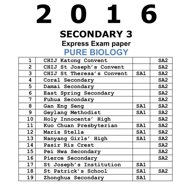 2016 Secondary 3 Express Pure Biology Exam Papers (soft