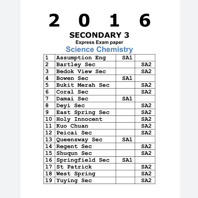 2016 Secondary 3 Express Science Chemistry Past Year Exam
