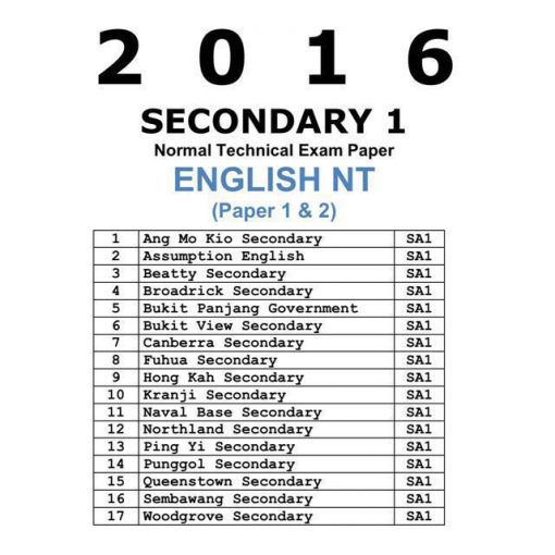 2016 Secondary 1 Normal Technical (NT) English Past Year