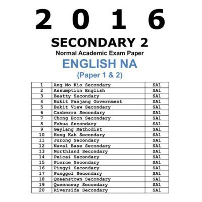 2016 & 2015 Secondary 3 Express English Past Year Exam