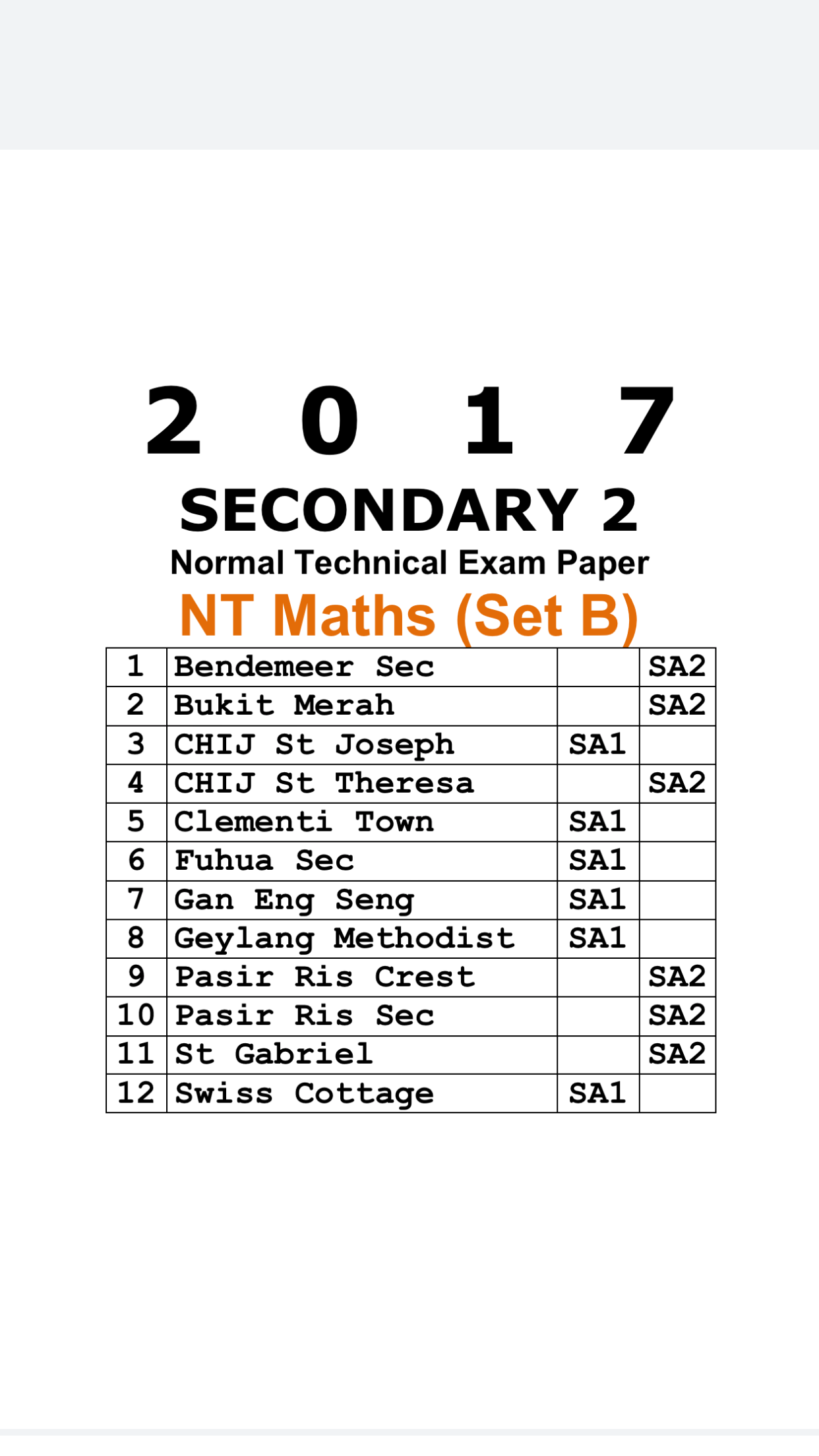 2017 Secondary 2 Normal Technical (NT) Maths Exam Papers