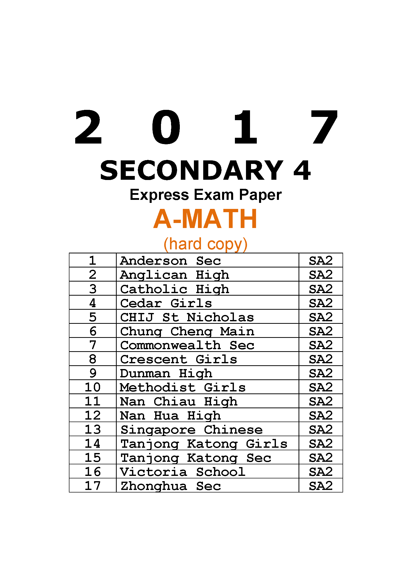 2017 Secondary 4 Express Additional Maths Prelim Exam