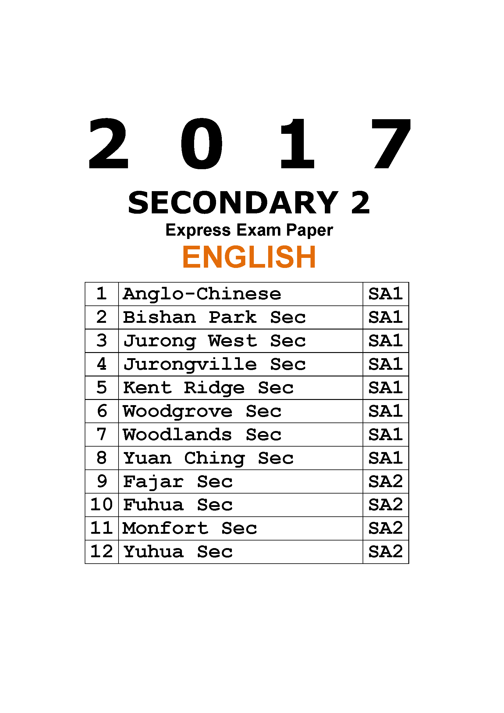 2017 Secondary 2 Express English Exam Paper (hardcopy