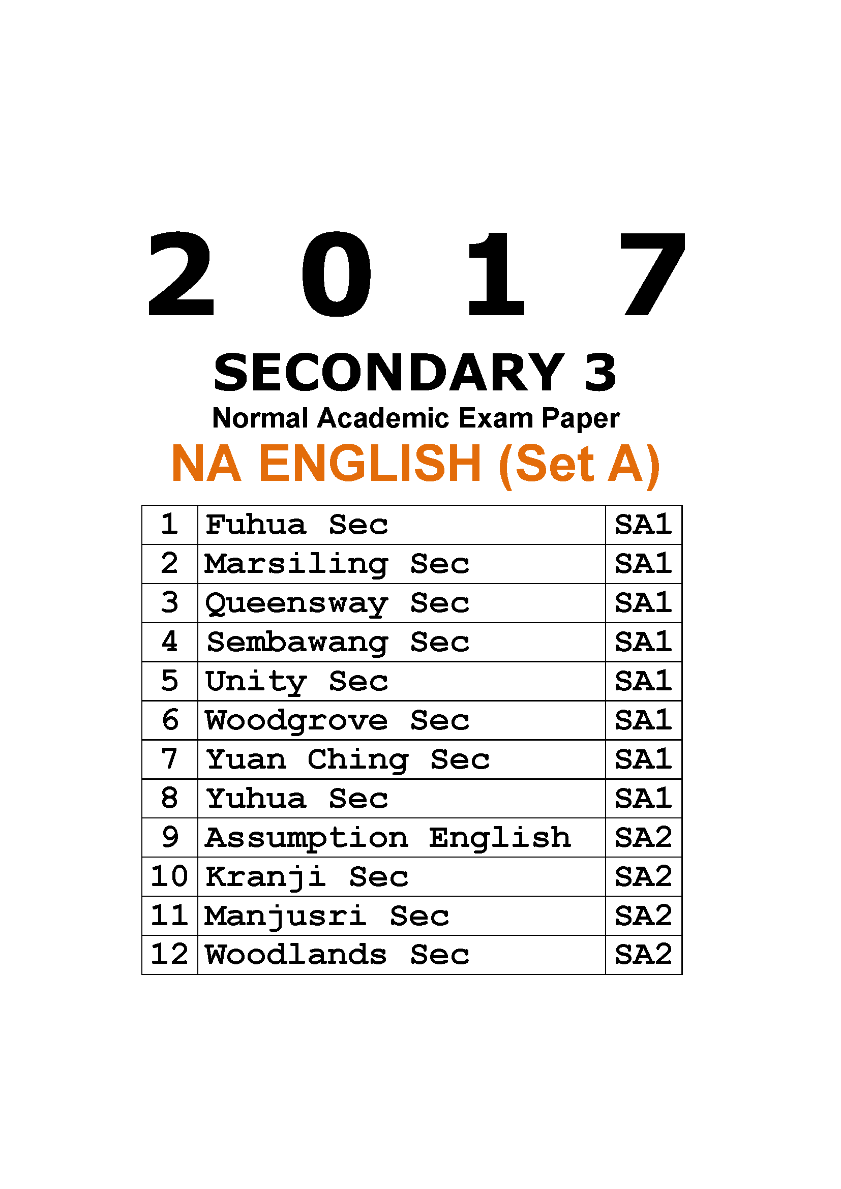 2017 Secondary 3 Normal Academic (NA) English Exam Papers
