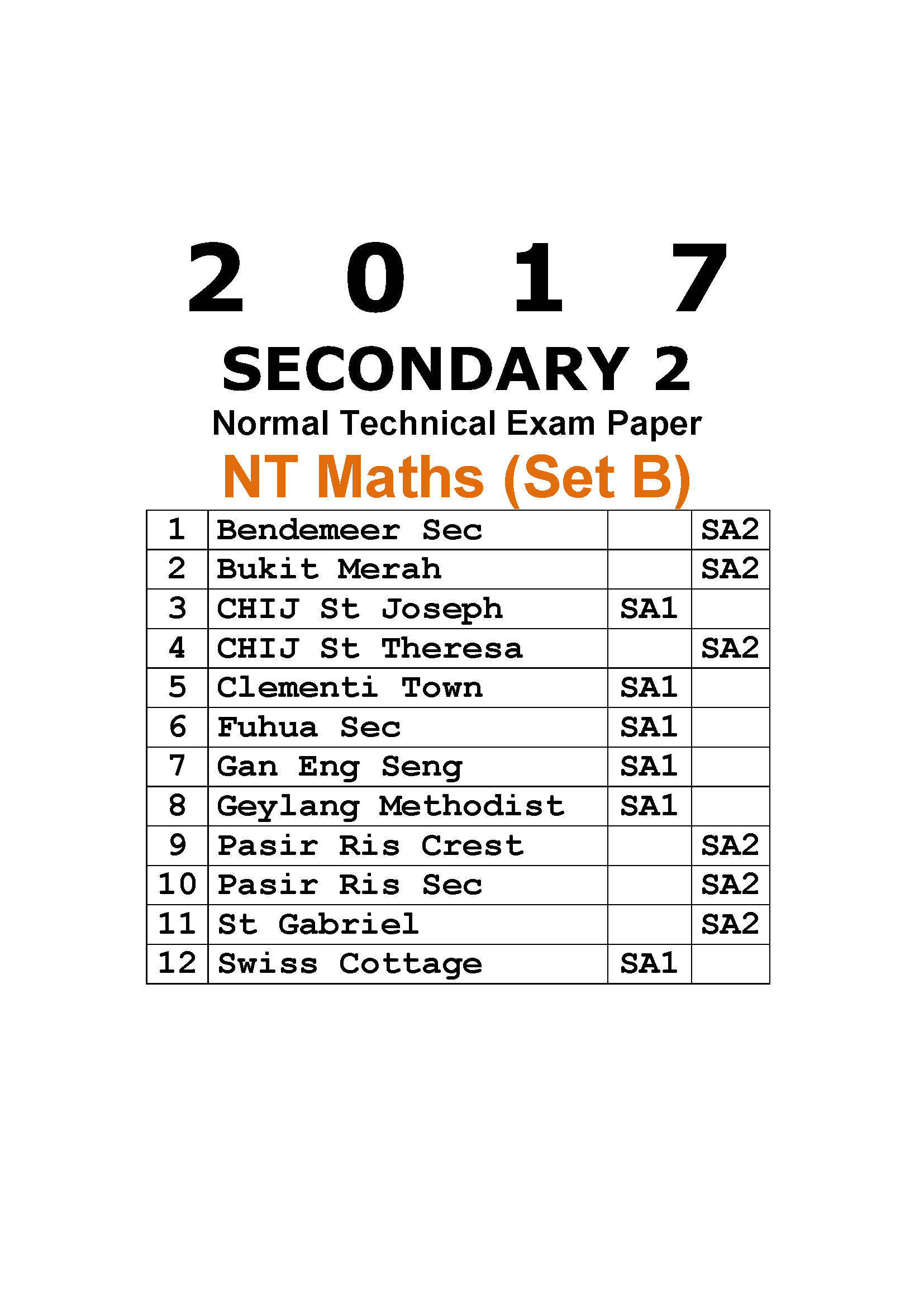 2017 Secondary 2 Normal Technical (NT) Maths Exam Paper