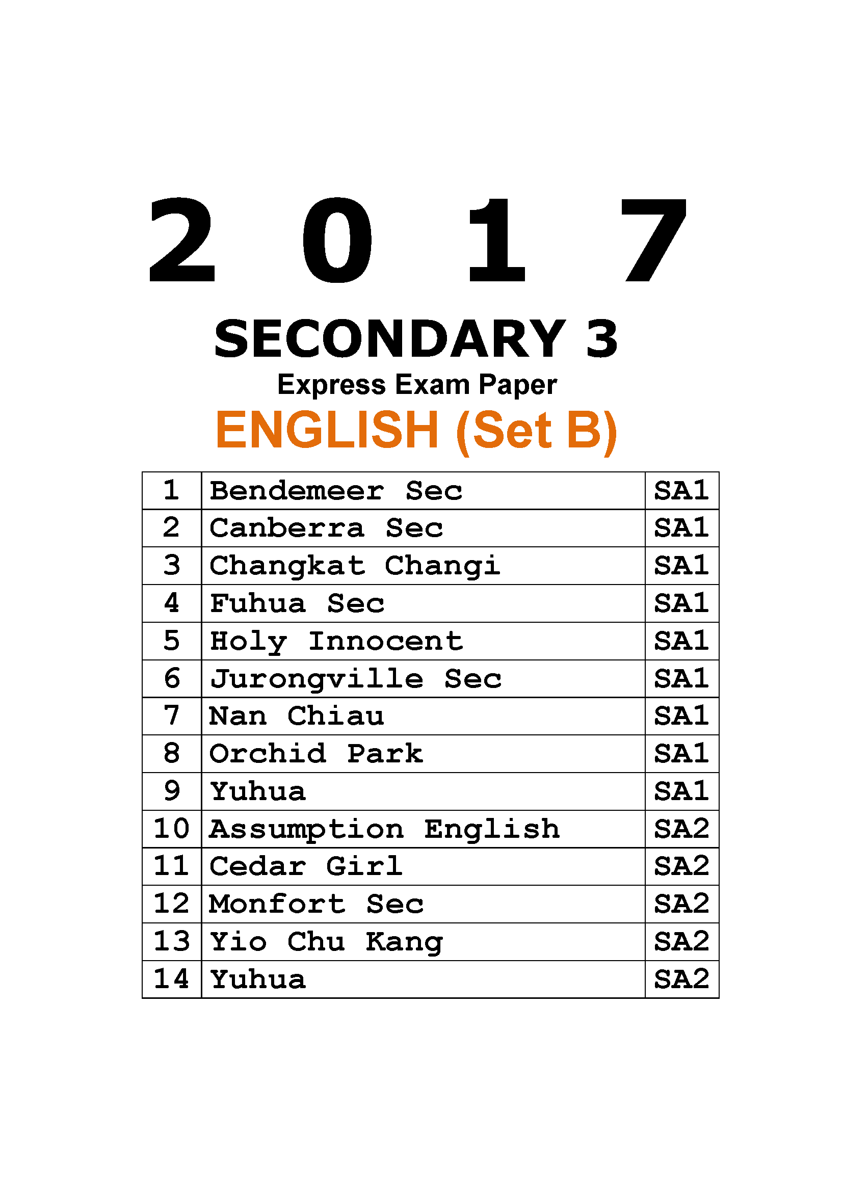 2017 Secondary 3 Express English Exam Paper (Set B