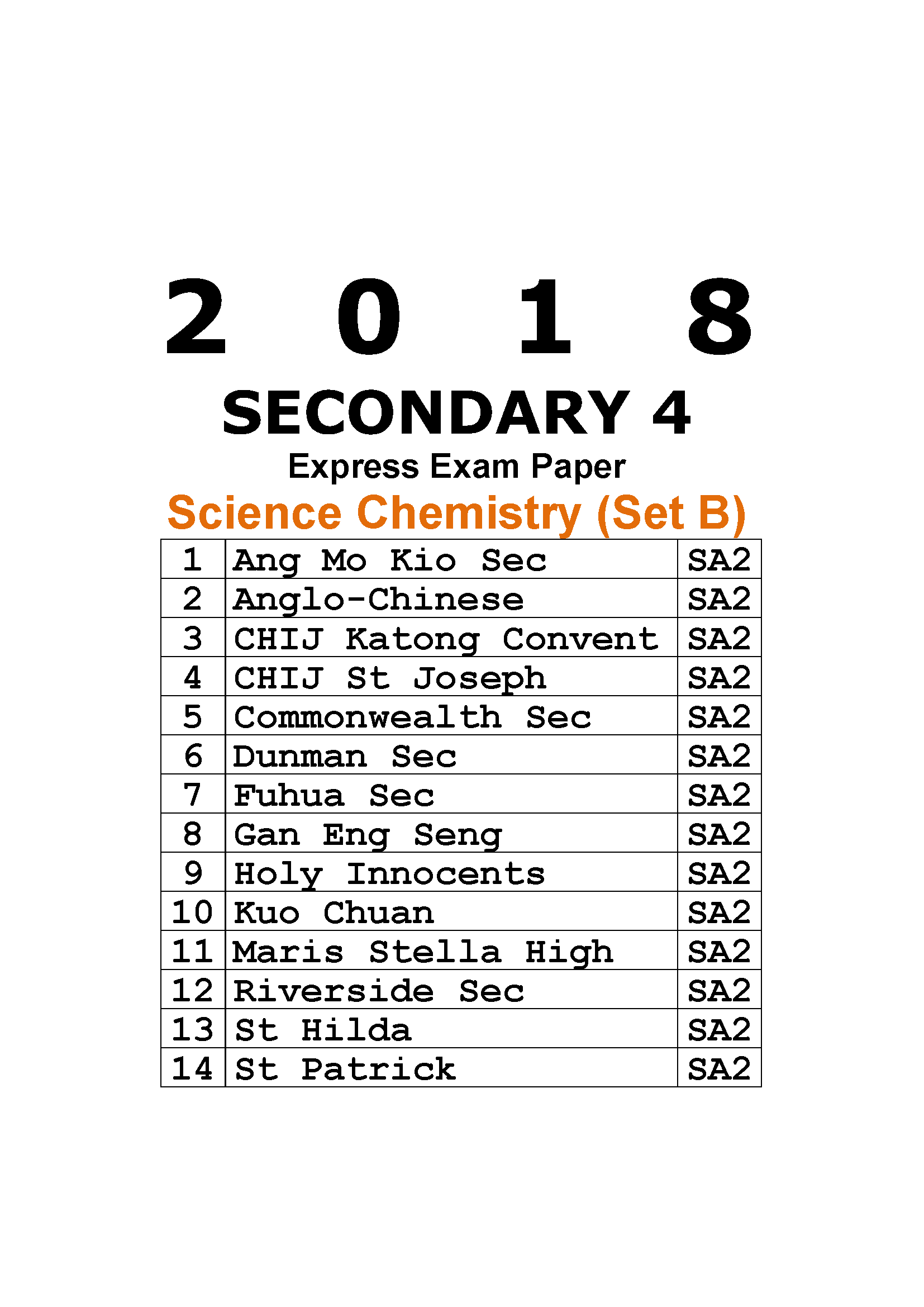 2018 Secondary 4 Express Science Chemistry Exam Paper (Set