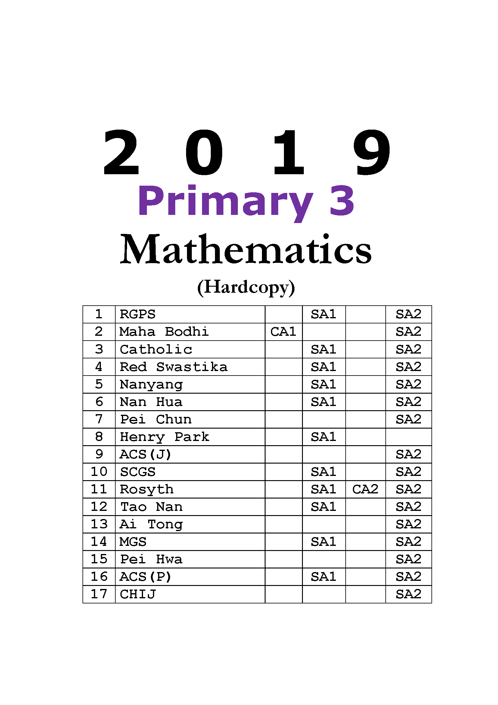 2019 Primary 3 Mathematics Exam Papers (hardcopy) + FREE