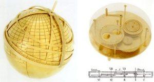 Gambar kiri, model astrolabe berbentuk bulat dan gambar kanan model mekanis matahari dan kalender bulan. Kedua model ini dibuat berdasarkan desain dan deskripsi dari al-Biruni. Ditemukan di Institute for the History of Arabic-Islamic Science di University of Frankfurt.