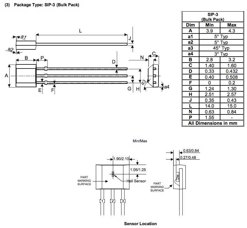Standard pin numbering for TO-92Flat? (hall-effect sensor