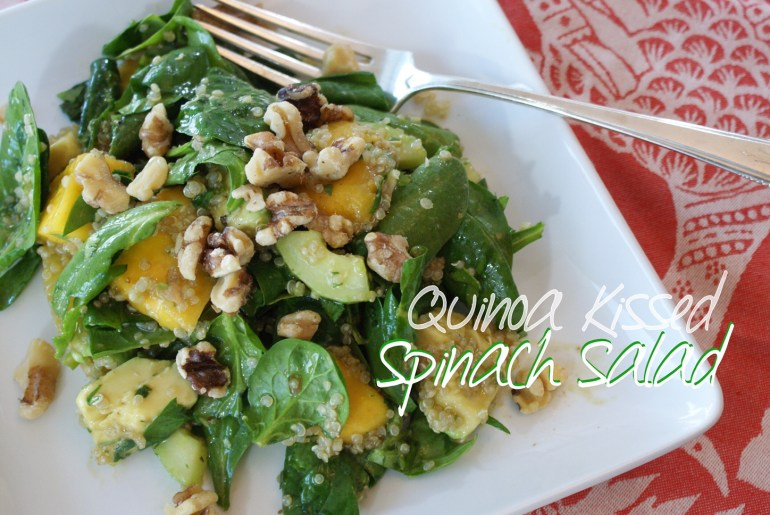 Quinoa Kissed Spinach Salad