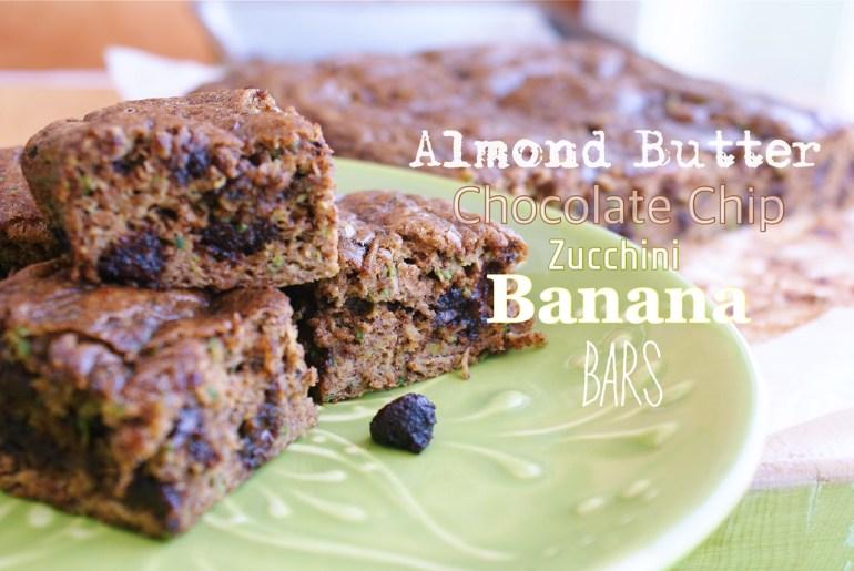 Almond butter chocolate chip zucchini banana bars