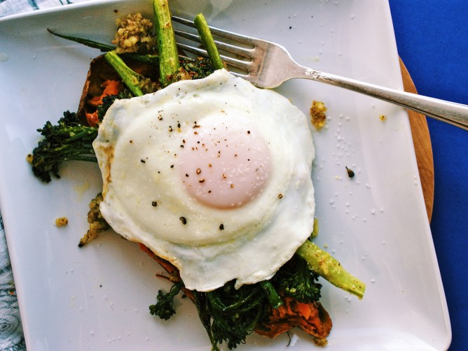 Roasted Broccolini with Almond Pesto topped with an egg