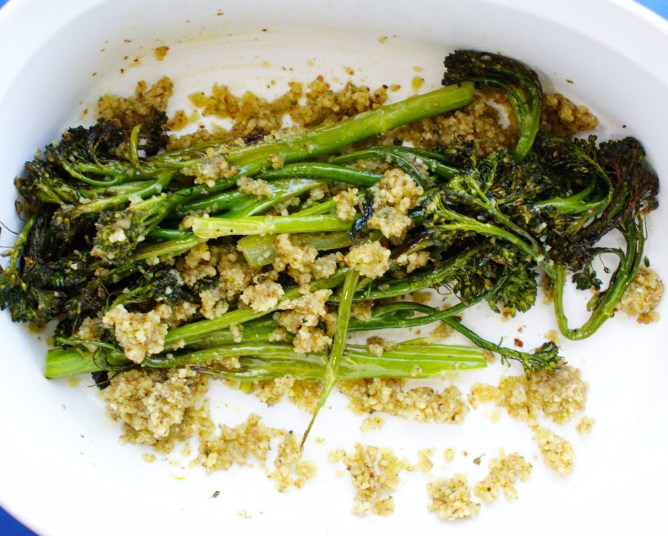 Tossing Broccolini with Pesto
