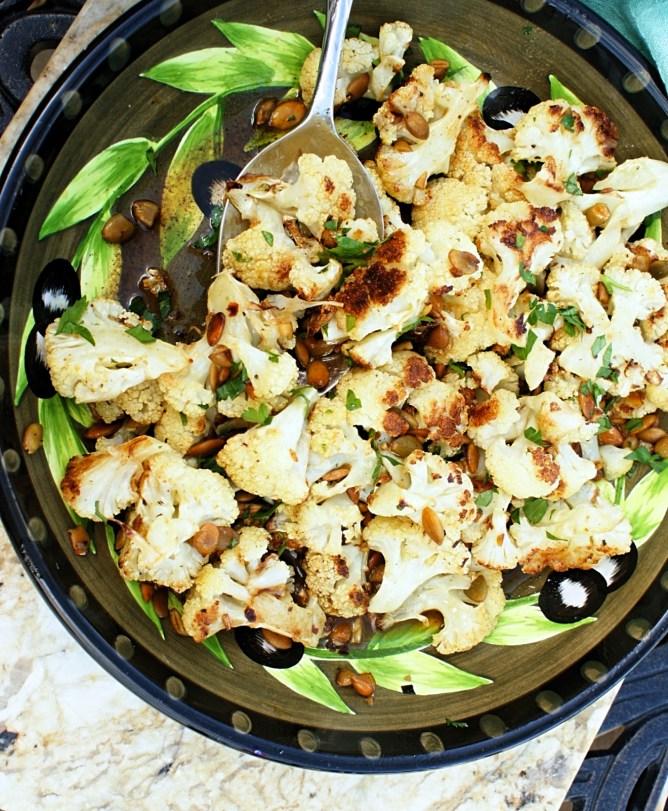 Roasted Cauliflower with Browned Butter Pepitas and Lime