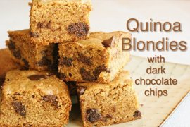 Quinoa Blondies with Dark Chocolate Chips