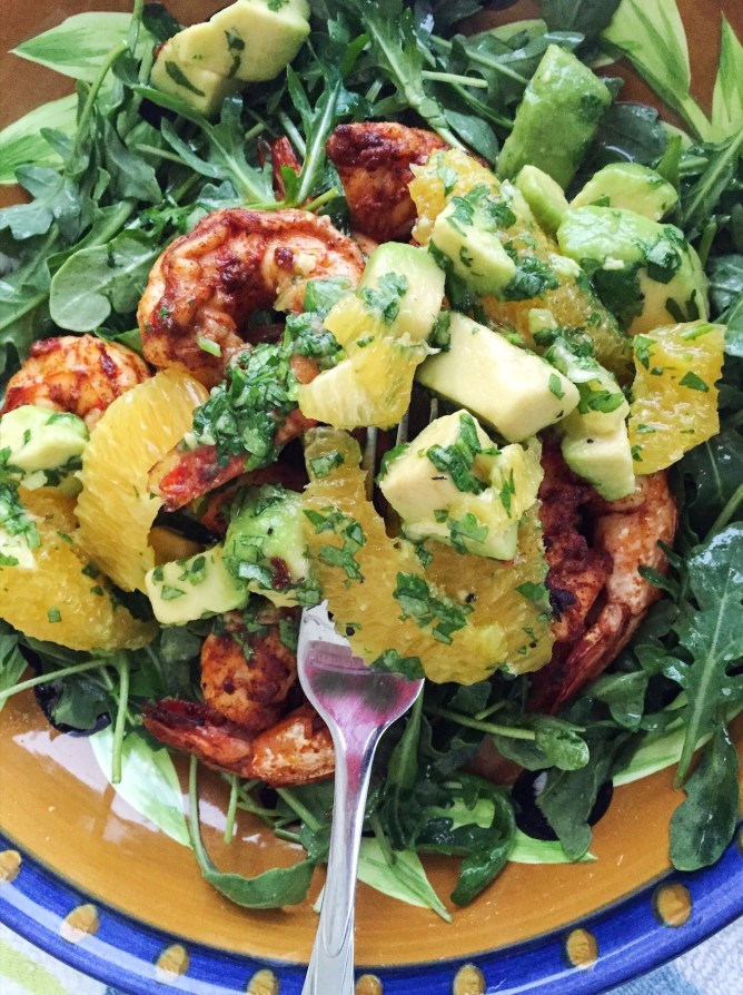 Avocado and Orange Salad with Spicy Honey Broiled Shrimp