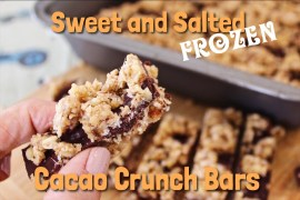 Sweet and Salted Frozen Cacao Crunch Bars