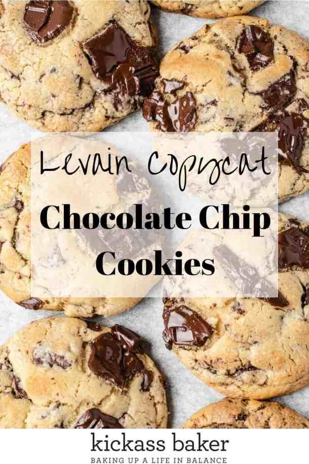 Best Chocolate Chip Cookie Recipe Levain Copycat Recipe | kickassbaker.com Pin for Pinterest