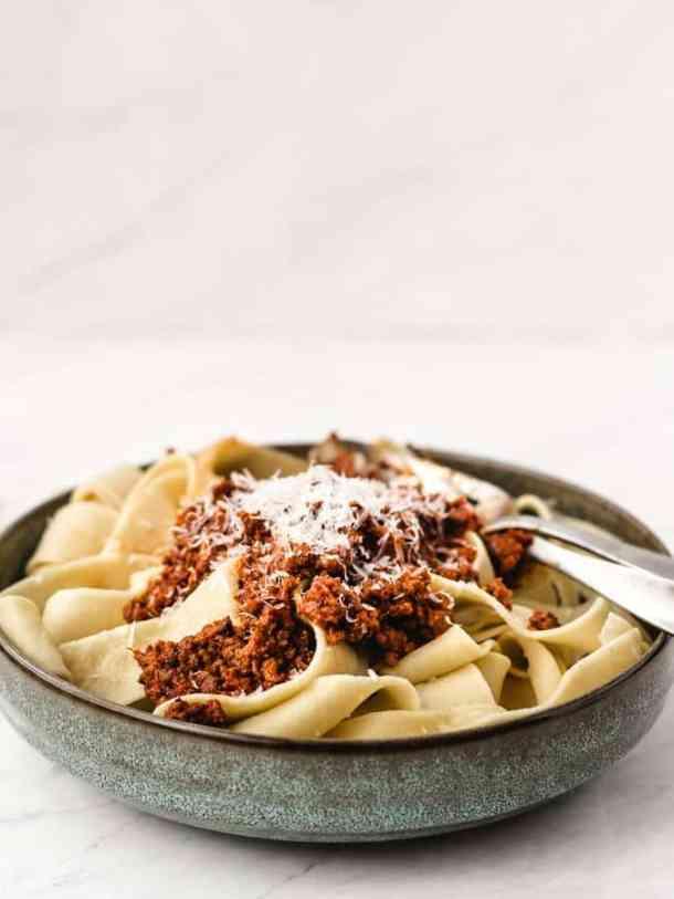 Weekend Bolognese Sauce | kickassbaker.com #bolognese #meatsauce #weekendcooking #italian #familydinner #sundaydinner #marcelahazan #ricotta #ricottacheese #homemade #fromscratch #kickassbaker