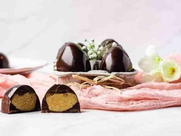 Paleo Creme Eggs | kickassbaker.com #easter #candy #cadbury #cremeeggs #creameggs #chocolate #paleo #paleorecipes #paleolife #glutenfree #nutfree #dairyfree #kickassbaker