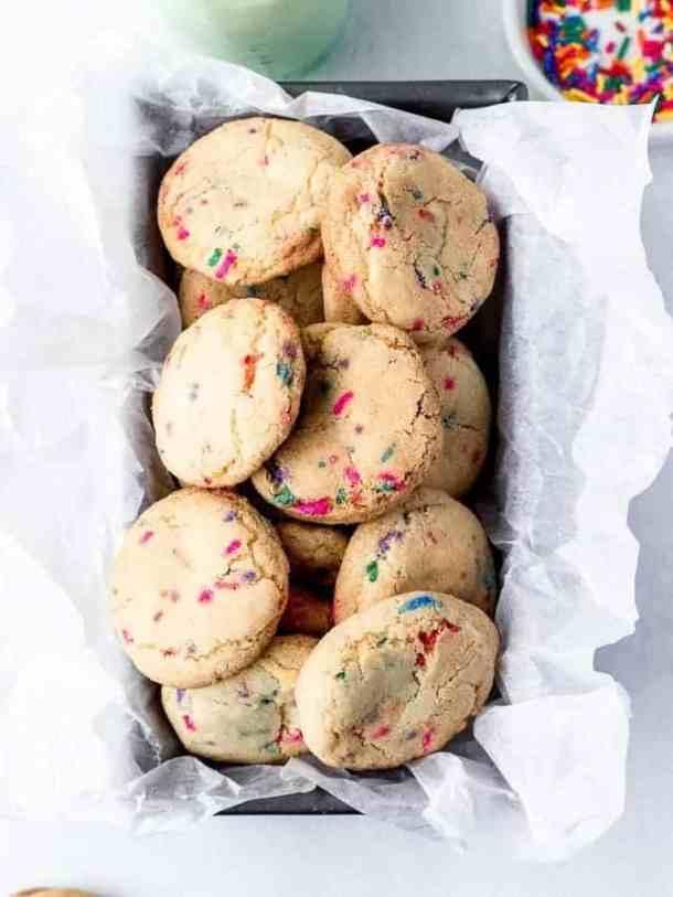 Fluffy Sprinkle Cookies in loaf pan shot overhead